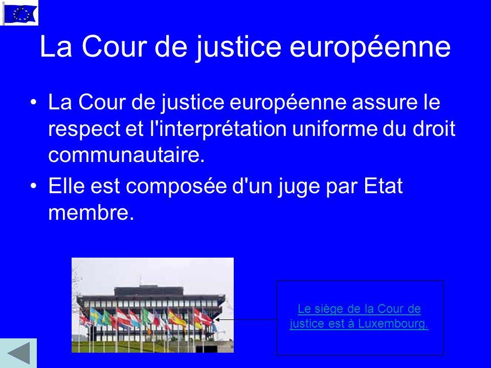 La Cour de justice européenne La Cour de justice européenne assure le respect et l interprétation uniforme du droit communautaire.