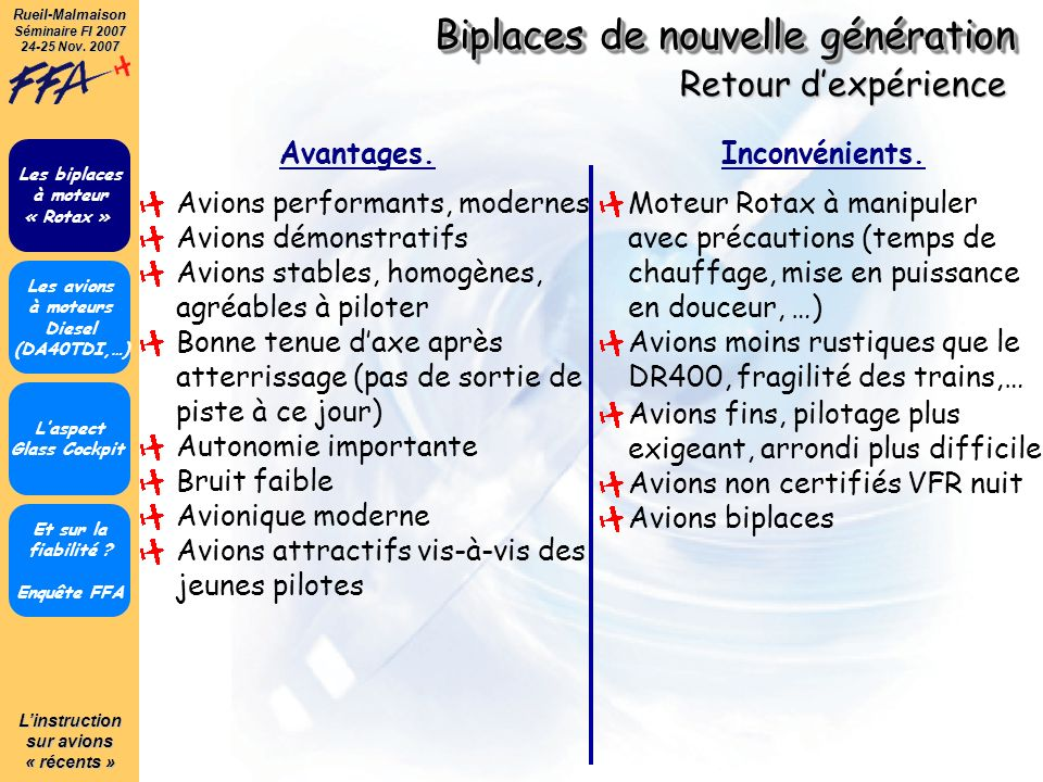 Linstruction sur avions « récents » Rueil-Malmaison Séminaire FI 2007 24-25 Nov.
