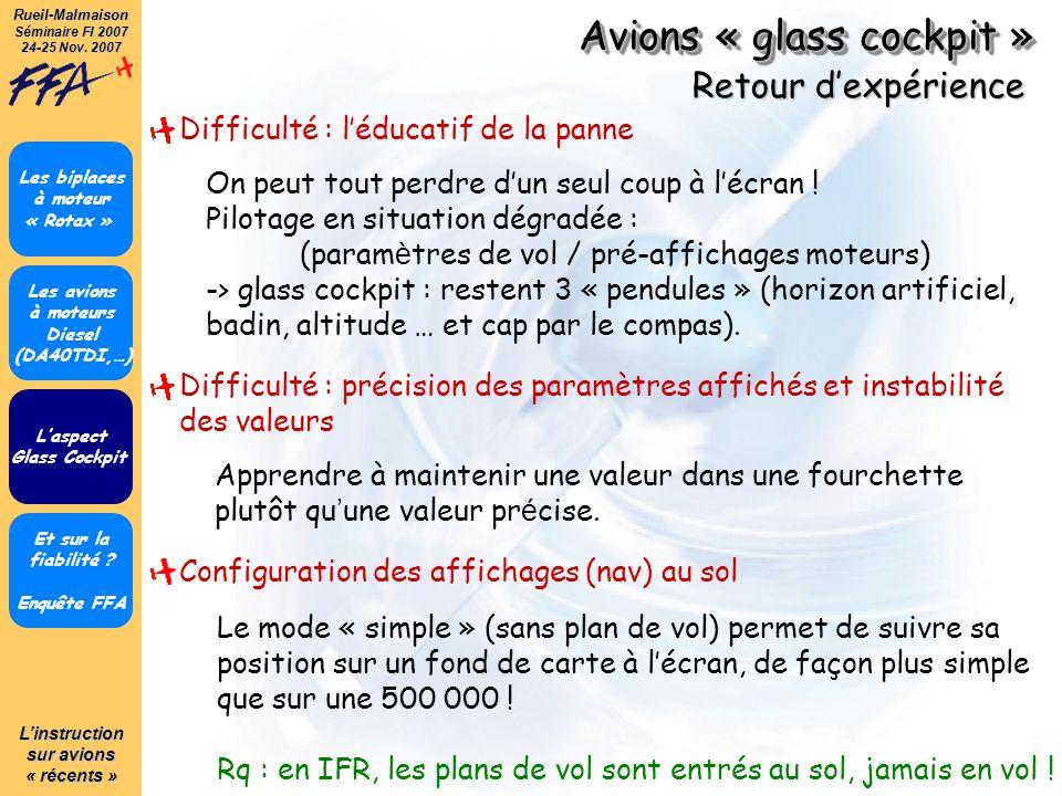 Linstruction sur avions « récents » Rueil-Malmaison Séminaire FI 2007 24-25 Nov. 2007 Avions « glass cockpit » Et sur la fiabilité ? Enquête FFA Les b