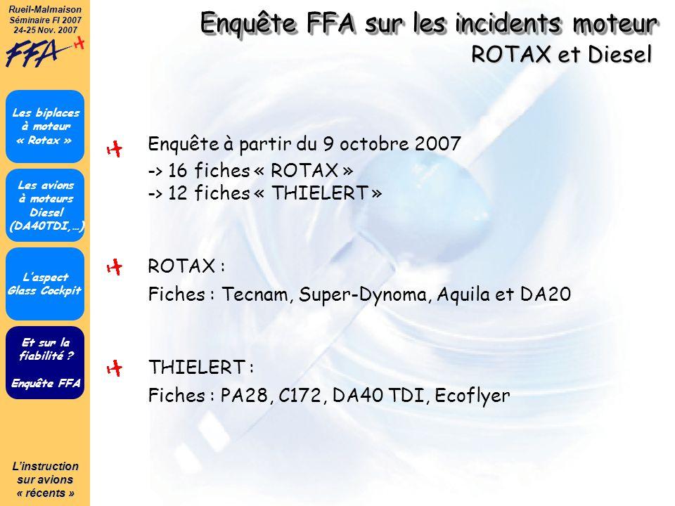 Linstruction sur avions « récents » Rueil-Malmaison Séminaire FI 2007 24-25 Nov. 2007 Enquête FFA sur les incidents moteur Et sur la fiabilité ? Enquê
