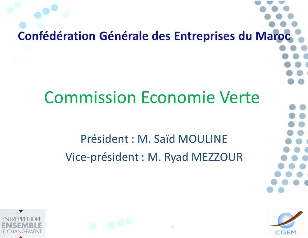 Commission Economie Verte Président : M.Saïd MOULINE Vice-président : M.