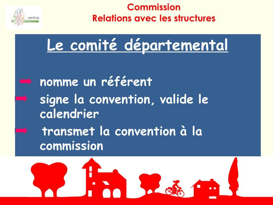 Le comité départemental nomme un référent signe la convention, valide le calendrier transmet la convention à la commission Commission Relations avec les structures