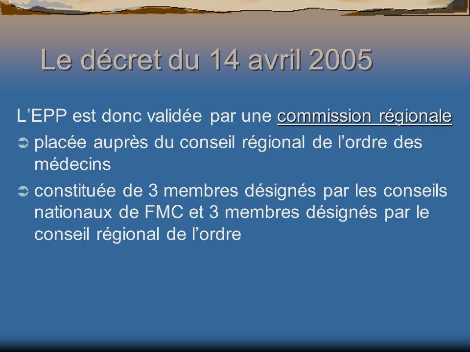 commission régionale LEPP est donc validée par une commission régionale placée auprès du conseil régional de lordre des médecins constituée de 3 membres désignés par les conseils nationaux de FMC et 3 membres désignés par le conseil régional de lordre Le décret du 14 avril 2005