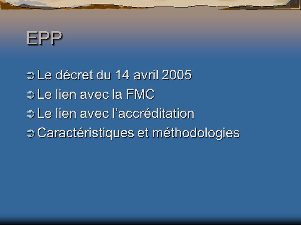 EPPEPP Le décret du 14 avril 2005 Le décret du 14 avril 2005 Le lien avec la FMC Le lien avec la FMC Le lien avec laccréditation Le lien avec laccréditation Caractéristiques et méthodologies Caractéristiques et méthodologies
