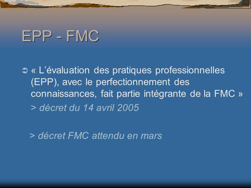 « Lévaluation des pratiques professionnelles (EPP), avec le perfectionnement des connaissances, fait partie intégrante de la FMC » > décret du 14 avril 2005 > décret FMC attendu en mars