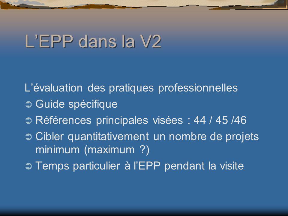 Lévaluation des pratiques professionnelles Guide spécifique Références principales visées : 44 / 45 /46 Cibler quantitativement un nombre de projets minimum (maximum ?) Temps particulier à lEPP pendant la visite LEPP dans la V2