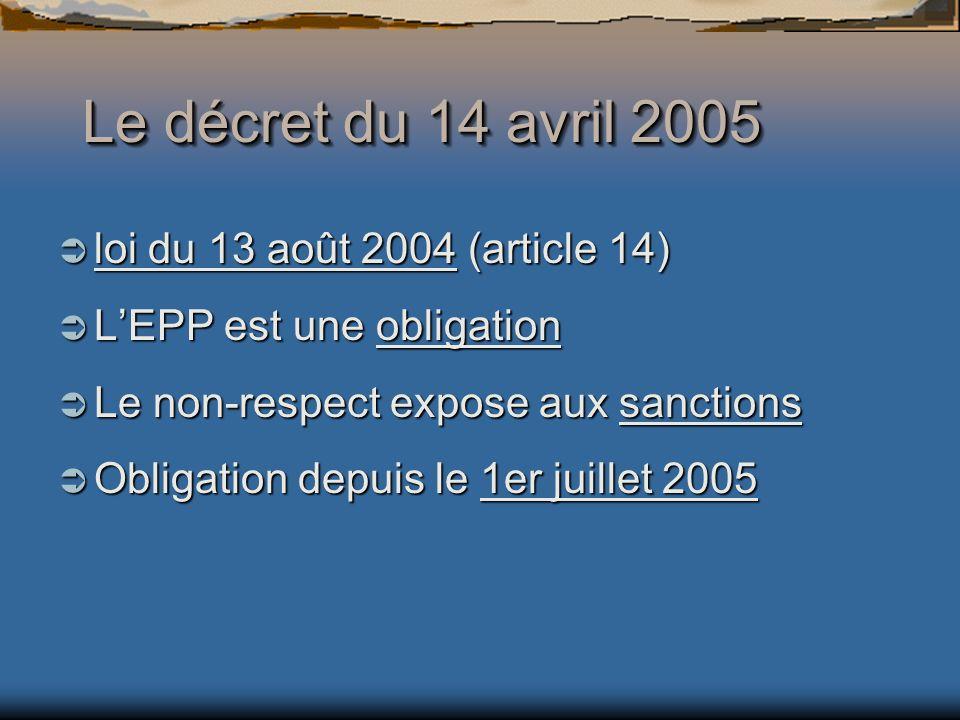 Le décret du 14 avril 2005 loi du 13 août 2004 (article 14) loi du 13 août 2004 (article 14) LEPP est une obligation LEPP est une obligation Le non-respect expose aux sanctions Le non-respect expose aux sanctions Obligation depuis le 1er juillet 2005 Obligation depuis le 1er juillet 2005