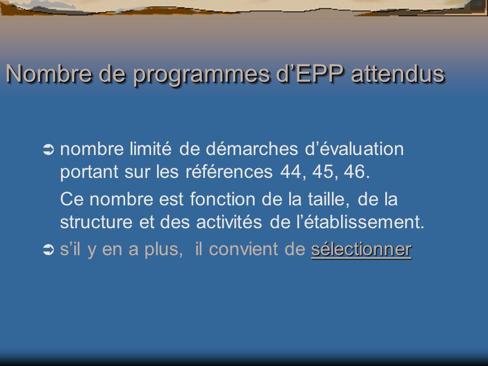 nombre limité de démarches dévaluation portant sur les références 44, 45, 46.