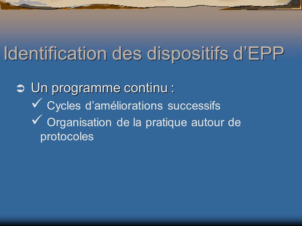 Un programme continu : Cycles daméliorations successifs Organisation de la pratique autour de protocoles Identification des dispositifs dEPP