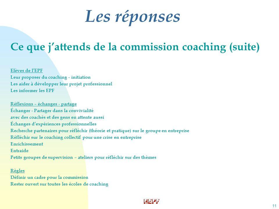 11 Les réponses Ce que jattends de la commission coaching (suite) Elèves de lEPF Leur proposer du coaching - initiation Les aider à développer leur pr