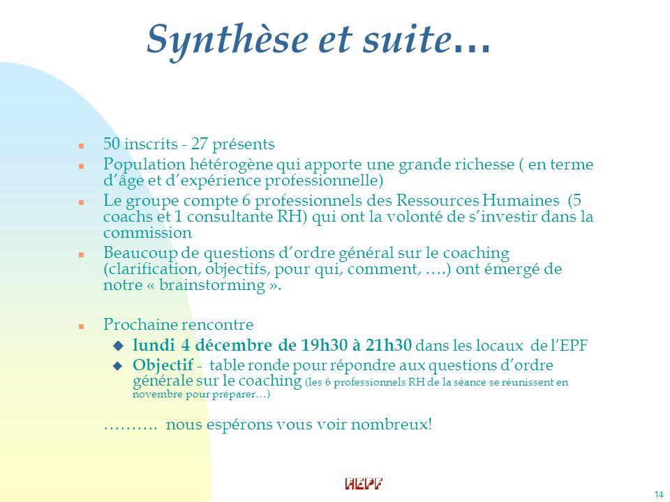 14 Synthèse et suite … n 50 inscrits - 27 présents n Population hétérogène qui apporte une grande richesse ( en terme dâge et dexpérience professionne