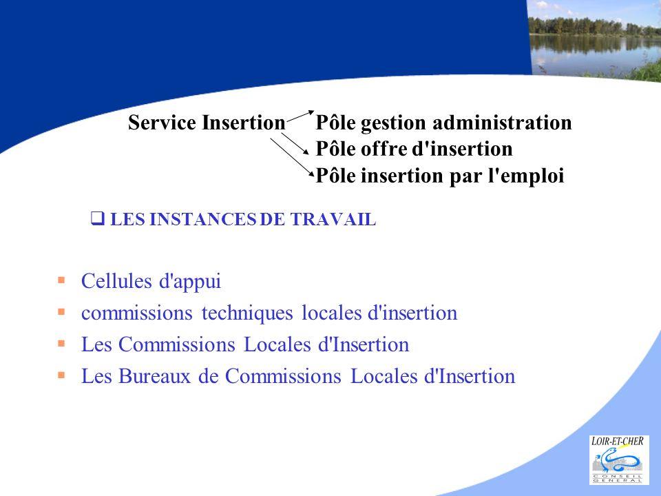 Service Insertion Pôle gestion administration Pôle offre d'insertion Pôle insertion par l'emploi LES INSTANCES DE TRAVAIL Cellules d'appui commissions