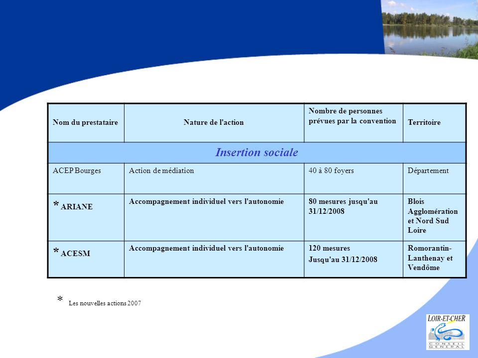 Nom du prestataireNature de l'action Nombre de personnes prévues par la convention Territoire Insertion sociale ACEP BourgesAction de médiation40 à 80
