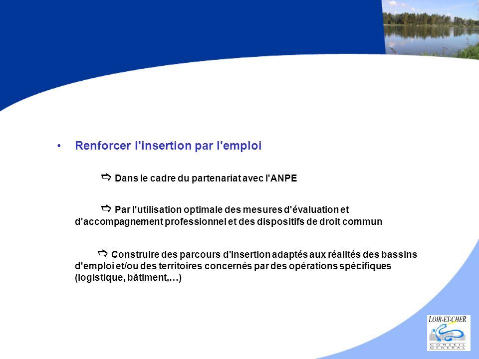 Renforcer l'insertion par l'emploi Dans le cadre du partenariat avec l'ANPE Par l'utilisation optimale des mesures d'évaluation et d'accompagnement pr