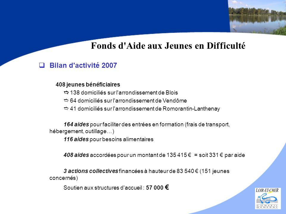 Fonds d'Aide aux Jeunes en Difficulté Bilan d'activité 2007 408 jeunes bénéficiaires 138 domiciliés sur l'arrondissement de Blois 64 domiciliés sur l'