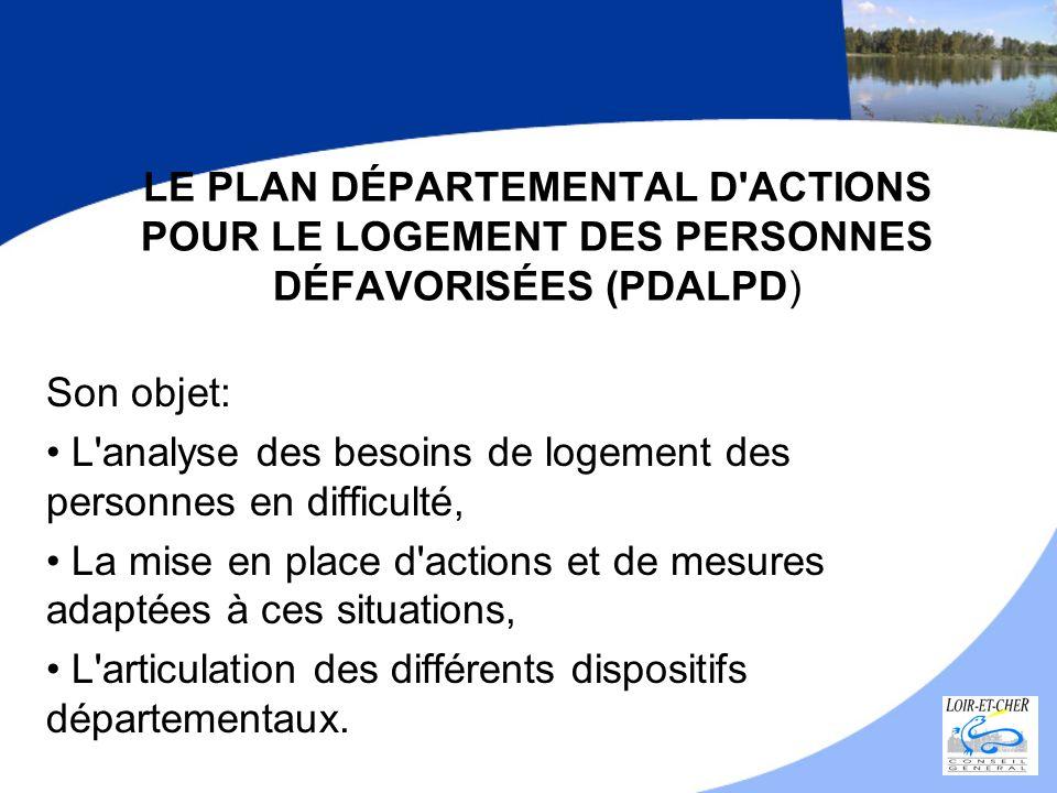 LE PLAN DÉPARTEMENTAL D'ACTIONS POUR LE LOGEMENT DES PERSONNES DÉFAVORISÉES (PDALPD) Son objet: L'analyse des besoins de logement des personnes en dif
