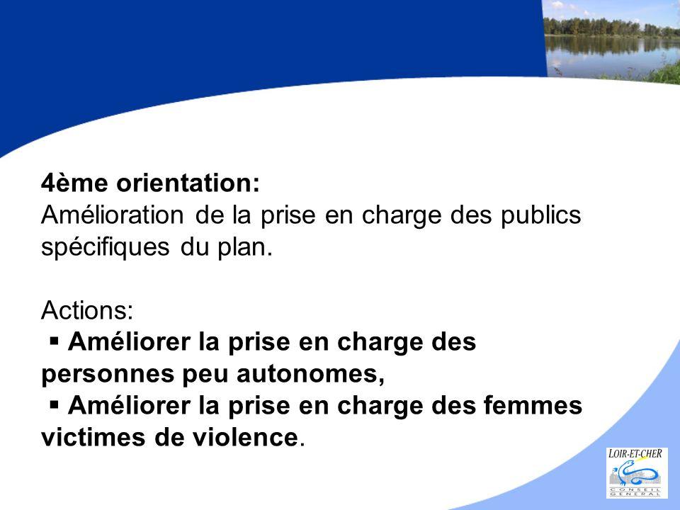 4ème orientation: Amélioration de la prise en charge des publics spécifiques du plan. Actions: Améliorer la prise en charge des personnes peu autonome