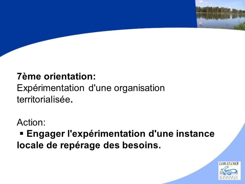 7ème orientation: Expérimentation d'une organisation territorialisée. Action: Engager l'expérimentation d'une instance locale de repérage des besoins.