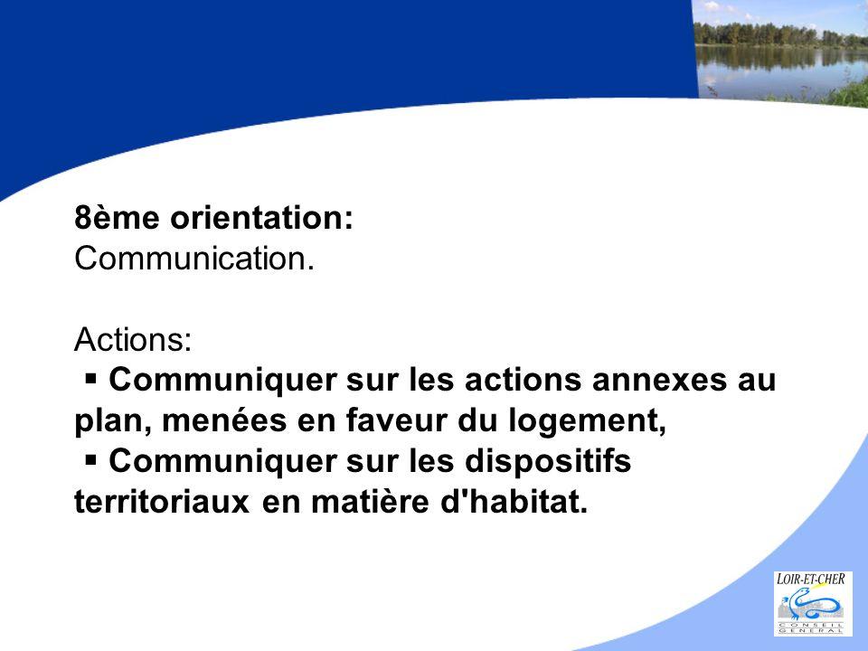 8ème orientation: Communication. Actions: Communiquer sur les actions annexes au plan, menées en faveur du logement, Communiquer sur les dispositifs t