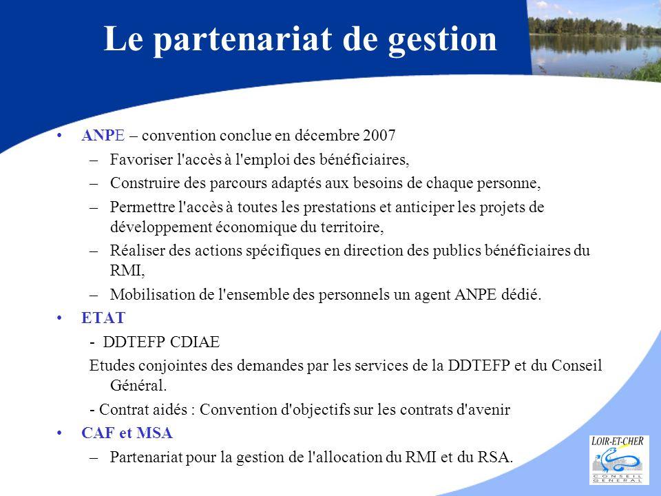 ANPE – convention conclue en décembre 2007 –Favoriser l'accès à l'emploi des bénéficiaires, –Construire des parcours adaptés aux besoins de chaque per