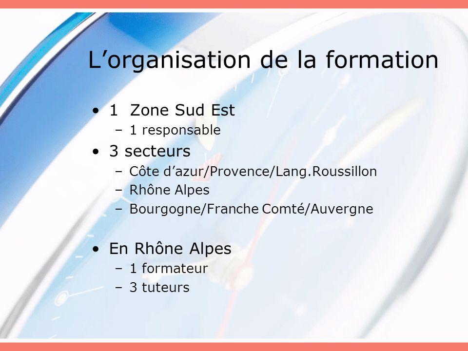 Lorganisation de la formation 1 Zone Sud Est –1 responsable 3 secteurs –Côte dazur/Provence/Lang.Roussillon –Rhône Alpes –Bourgogne/Franche Comté/Auvergne En Rhône Alpes –1 formateur –3 tuteurs