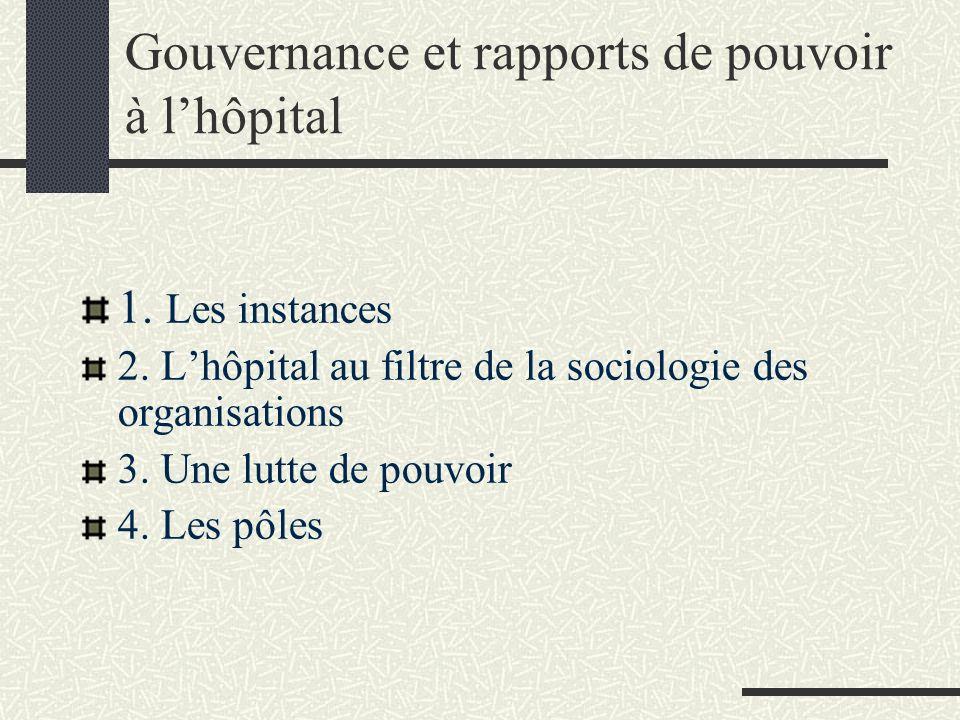 Gouvernance et rapports de pouvoir à lhôpital 1. Les instances 2. Lhôpital au filtre de la sociologie des organisations 3. Une lutte de pouvoir 4. Les