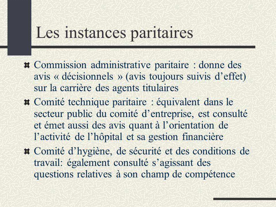 Les instances paritaires Commission administrative paritaire : donne des avis « décisionnels » (avis toujours suivis deffet) sur la carrière des agent