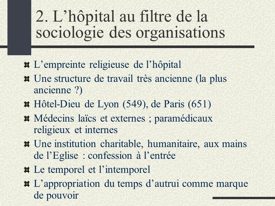 2. Lhôpital au filtre de la sociologie des organisations Lempreinte religieuse de lhôpital Une structure de travail très ancienne (la plus ancienne ?)