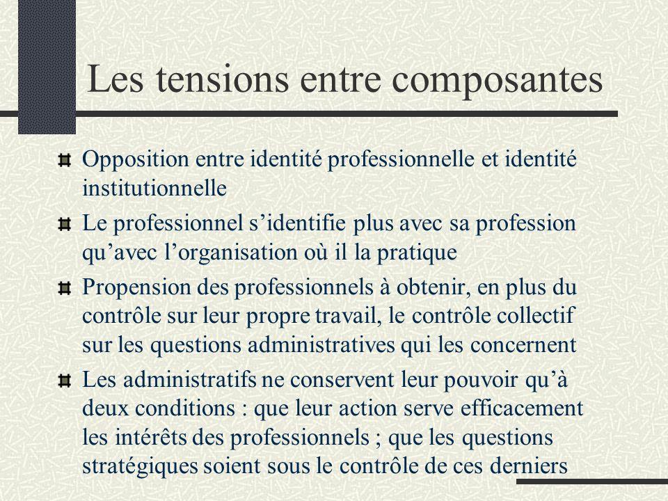 Les tensions entre composantes Opposition entre identité professionnelle et identité institutionnelle Le professionnel sidentifie plus avec sa profess