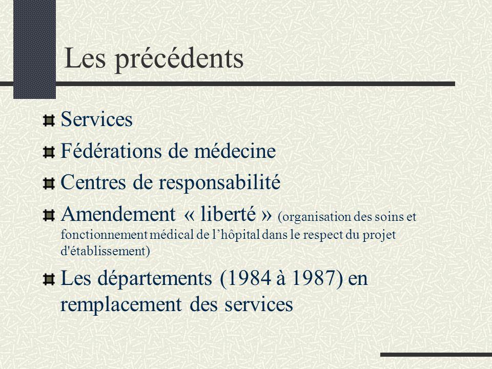 Les précédents Services Fédérations de médecine Centres de responsabilité Amendement « liberté » (organisation des soins et fonctionnement médical de