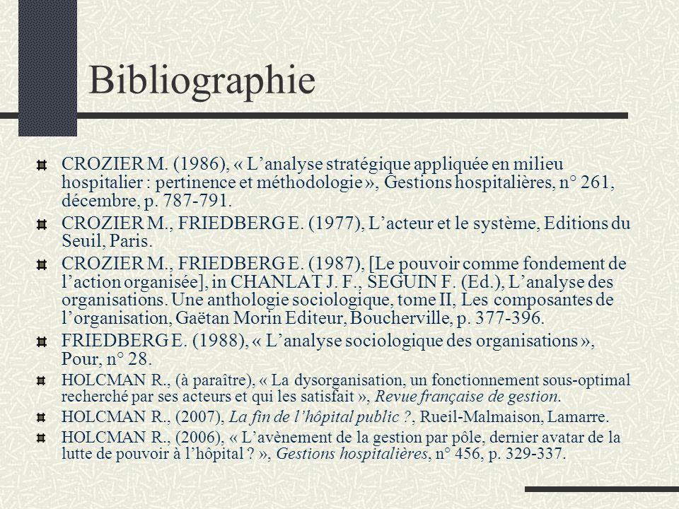 Bibliographie CROZIER M. (1986), « Lanalyse stratégique appliquée en milieu hospitalier : pertinence et méthodologie », Gestions hospitalières, n° 261