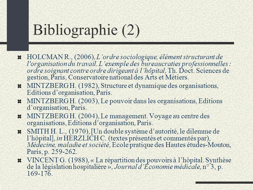 Bibliographie (2) HOLCMAN R., (2006), Lordre sociologique, élément structurant de l'organisation du travail. Lexemple des bureaucraties professionnell