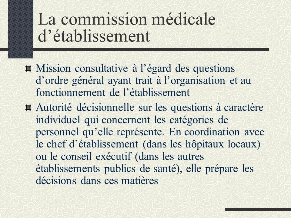 La commission médicale détablissement Mission consultative à légard des questions dordre général ayant trait à lorganisation et au fonctionnement de l
