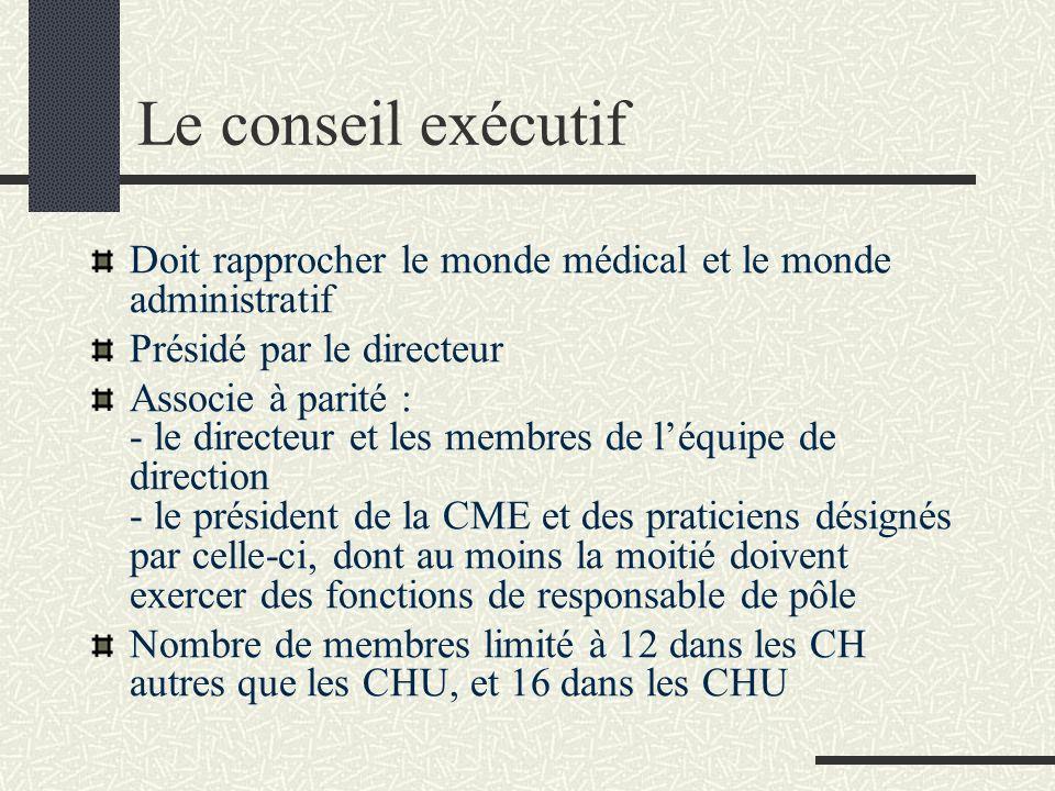 Le conseil exécutif Doit rapprocher le monde médical et le monde administratif Présidé par le directeur Associe à parité : - le directeur et les membr