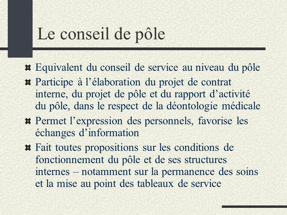 Le conseil de pôle Equivalent du conseil de service au niveau du pôle Participe à lélaboration du projet de contrat interne, du projet de pôle et du r