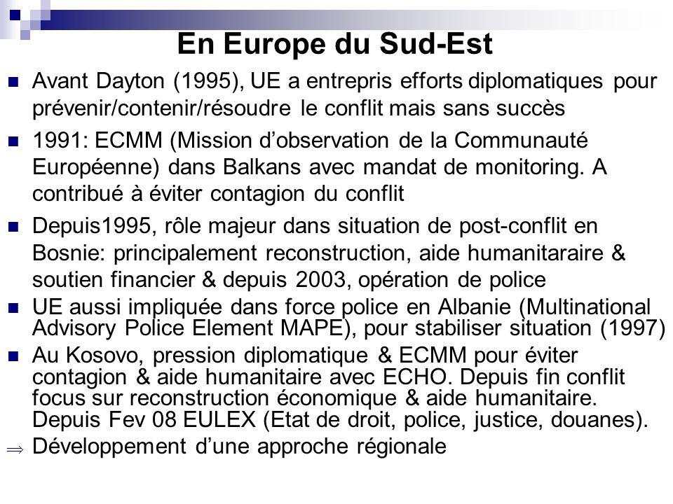 En Europe du Sud-Est Avant Dayton (1995), UE a entrepris efforts diplomatiques pour prévenir/contenir/résoudre le conflit mais sans succès 1991: ECMM (Mission dobservation de la Communauté Européenne) dans Balkans avec mandat de monitoring.