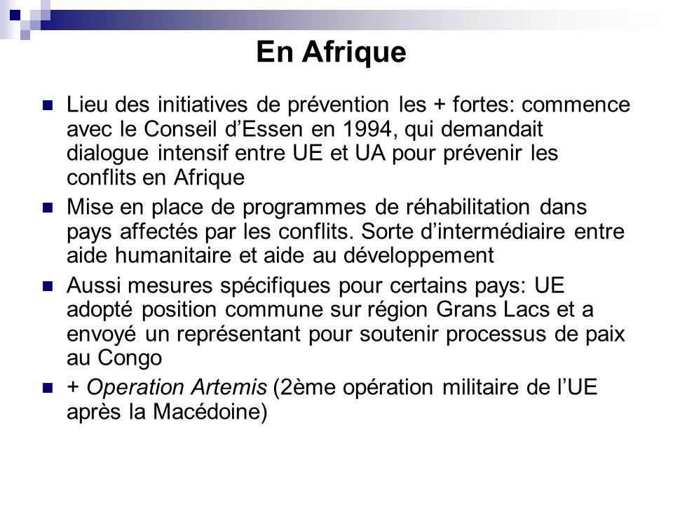 En Afrique Lieu des initiatives de prévention les + fortes: commence avec le Conseil dEssen en 1994, qui demandait dialogue intensif entre UE et UA pour prévenir les conflits en Afrique Mise en place de programmes de réhabilitation dans pays affectés par les conflits.