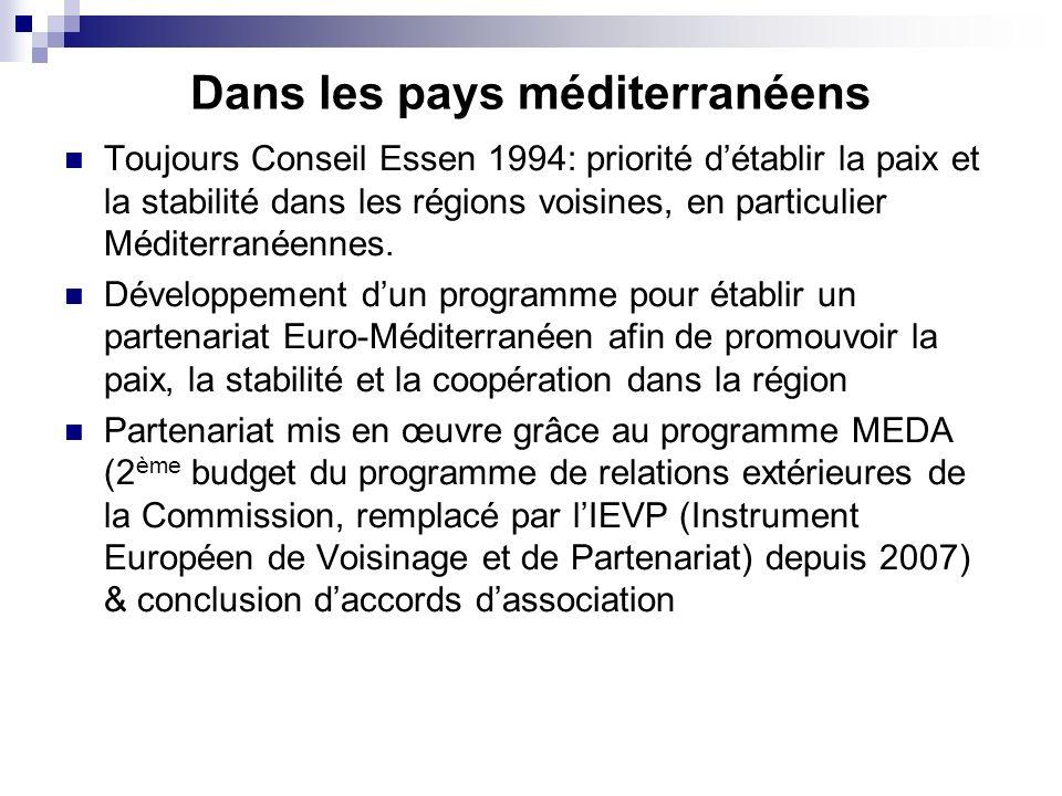 Dans les pays méditerranéens Toujours Conseil Essen 1994: priorité détablir la paix et la stabilité dans les régions voisines, en particulier Méditerranéennes.