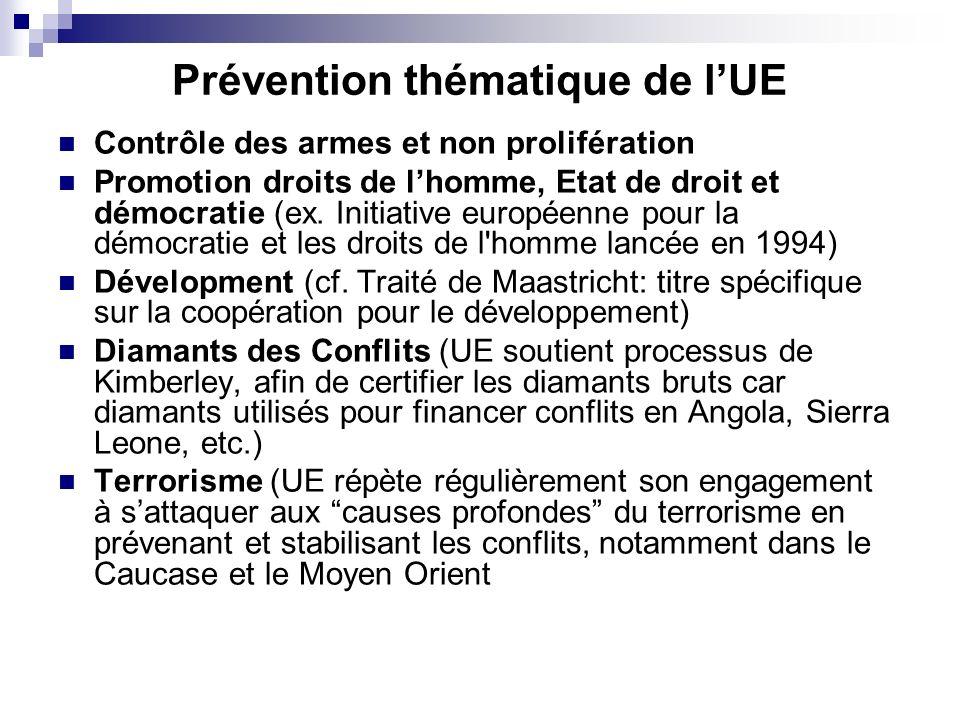 Prévention thématique de lUE Contrôle des armes et non prolifération Promotion droits de lhomme, Etat de droit et démocratie (ex. Initiative européenn