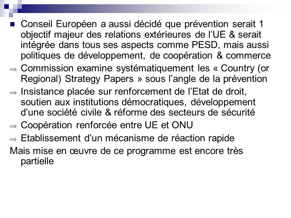 Conseil Européen a aussi décidé que prévention serait 1 objectif majeur des relations extérieures de lUE & serait intégrée dans tous ses aspects comme