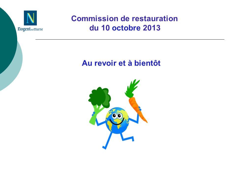 Commission de restauration du 10 octobre 2013 Au revoir et à bientôt