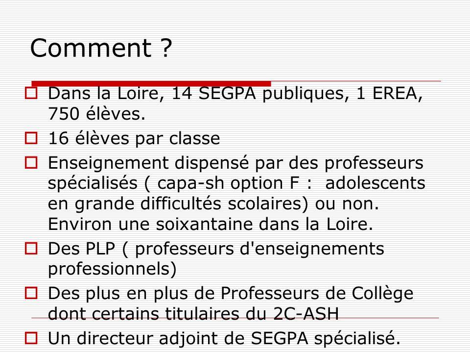Comment ? Dans la Loire, 14 SEGPA publiques, 1 EREA, 750 élèves. 16 élèves par classe Enseignement dispensé par des professeurs spécialisés ( capa-sh