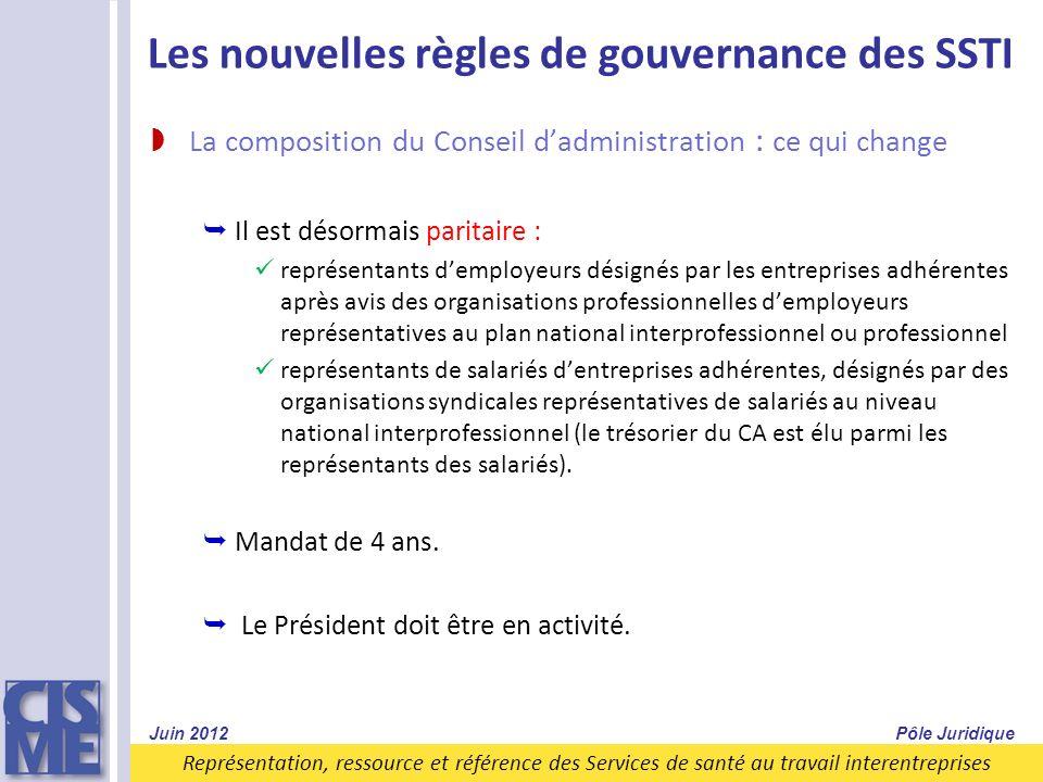 Représentation, ressource et référence des Services de santé au travail interentreprises Les nouvelles règles de gouvernance des SSTI La composition d