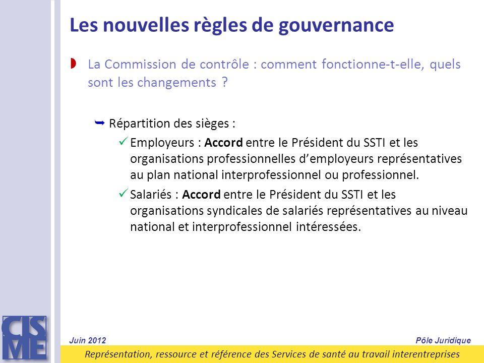 Représentation, ressource et référence des Services de santé au travail interentreprises Les nouvelles règles de gouvernance La Commission de contrôle