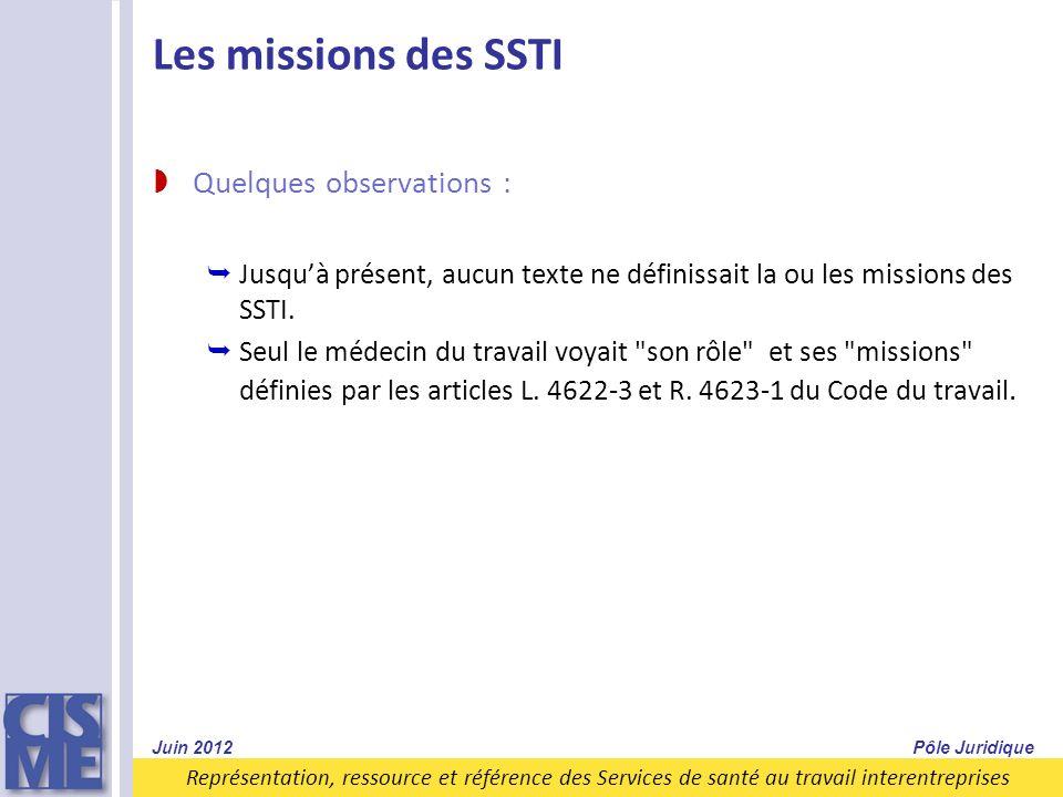 Représentation, ressource et référence des Services de santé au travail interentreprises Les missions des SSTI Quelques observations : Jusquà présent,