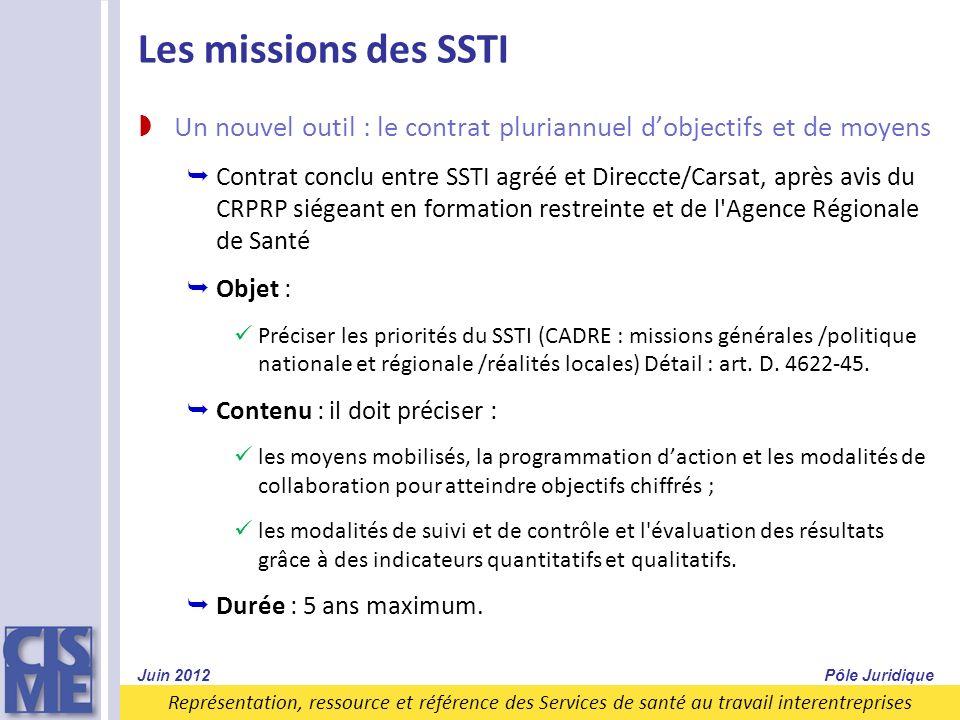 Représentation, ressource et référence des Services de santé au travail interentreprises Les missions des SSTI Un nouvel outil : le contrat pluriannue