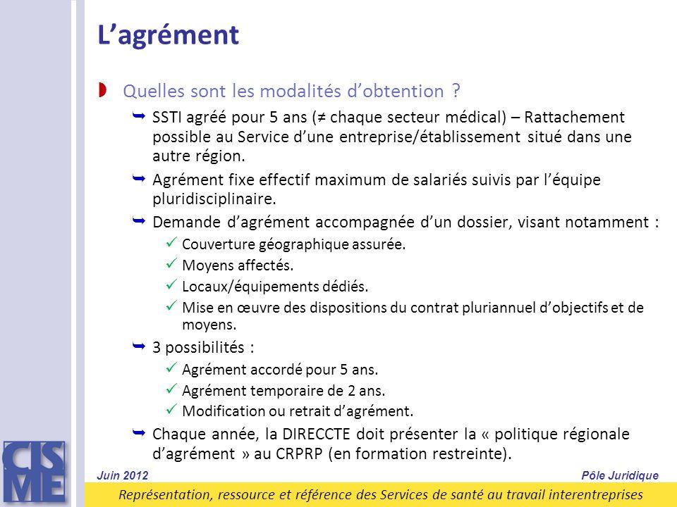 Représentation, ressource et référence des Services de santé au travail interentreprises Lagrément Quelles sont les modalités dobtention ? SSTI agréé