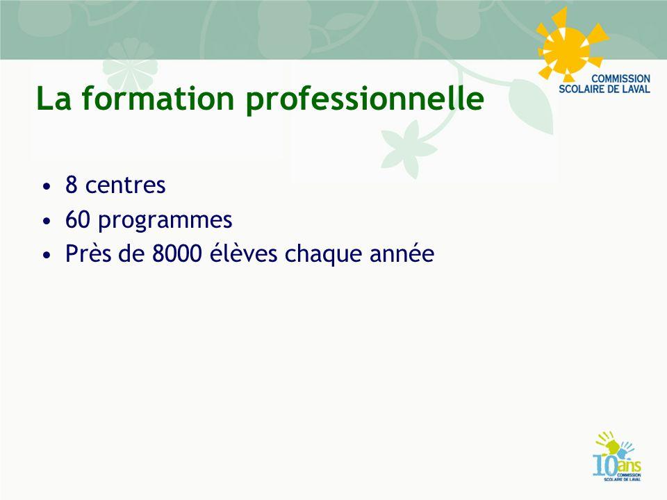 La formation professionnelle 8 centres 60 programmes Près de 8000 élèves chaque année