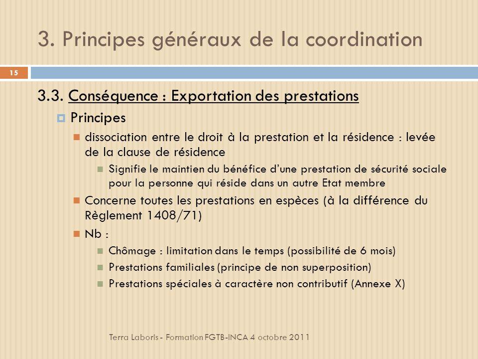3.Principes généraux de la coordination Terra Laboris - Formation FGTB-INCA 4 octobre 2011 15 3.3.