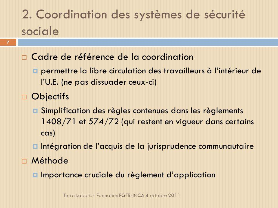 3.Principes généraux de la coordination Terra Laboris - Formation FGTB-INCA 4 octobre 2011 18 3.5.